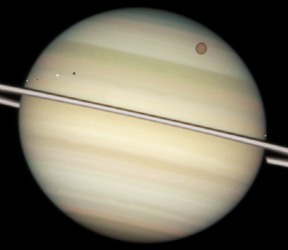 Moons orbiting Saturn