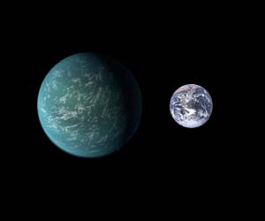 Kepler 22b compared to Earth in size